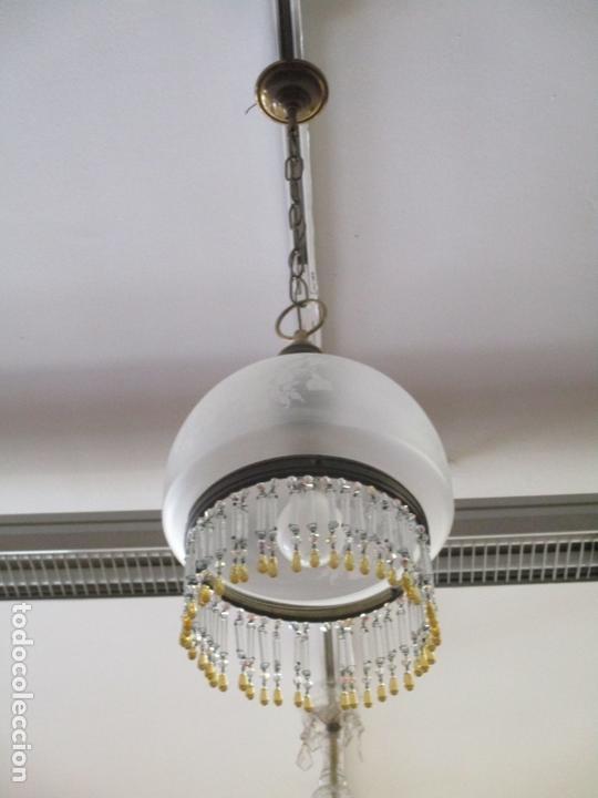 LAMPARA DE TECHO - FAROL - TULIPA DE CRISTAL - DECORACIÓN CON LAGRIMAS DE CRISTALES - AÑOS 30-40 (Antigüedades - Iluminación - Lámparas Antiguas)