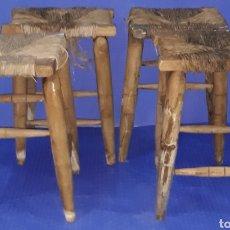 Antigüedades: LOTE 4 BANQUETAS DE ANEA. Lote 169781066