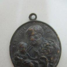 Antigüedades: ANTIGUA MEDALLA SAN JOSÉ - SAN LUIS DE GONZAGA - BRONCE CINCELADO - S. XVIII-XIX. Lote 169876204