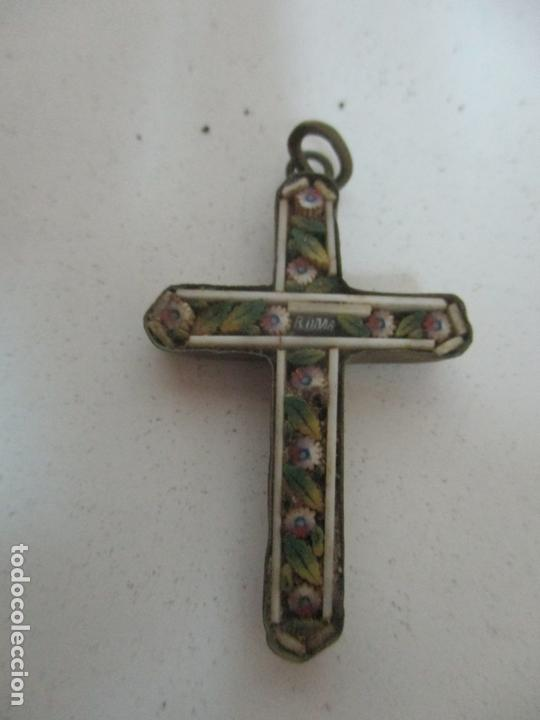 Antigüedades: Pequeña Cruz Antigua - Roma - Bronce - Decoración en Hueso y Esmalte - S. XVIII-XIX - Foto 2 - 169898132