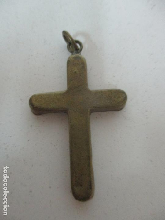 Antigüedades: Pequeña Cruz Antigua - Roma - Bronce - Decoración en Hueso y Esmalte - S. XVIII-XIX - Foto 3 - 169898132