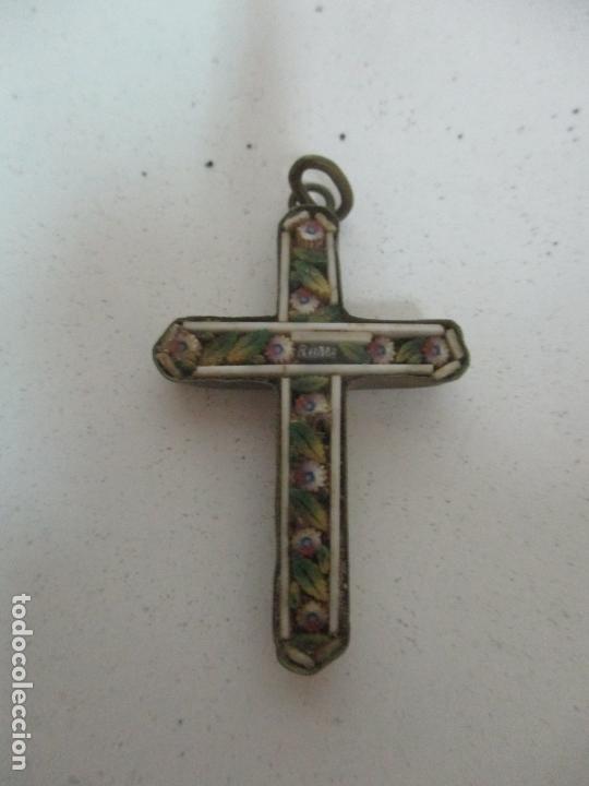 Antigüedades: Pequeña Cruz Antigua - Roma - Bronce - Decoración en Hueso y Esmalte - S. XVIII-XIX - Foto 4 - 169898132