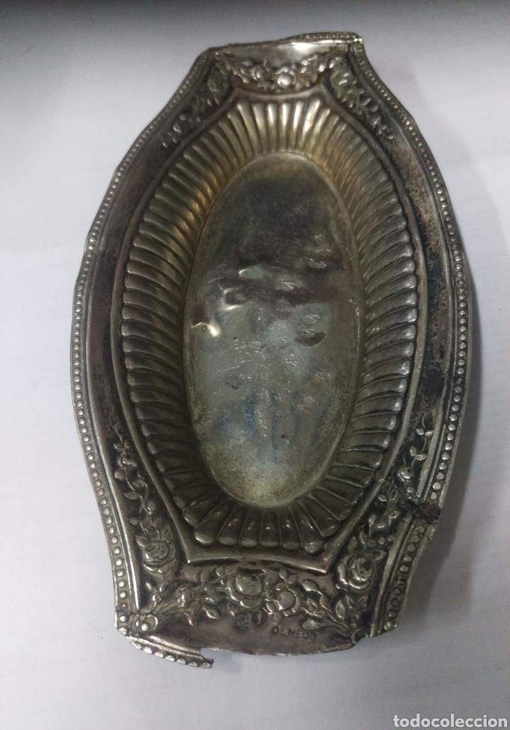 Antigüedades: Antiguo Plato Bandeja plata de ley punzon estrella, jarron y OLMEDO - Foto 3 - 169913369