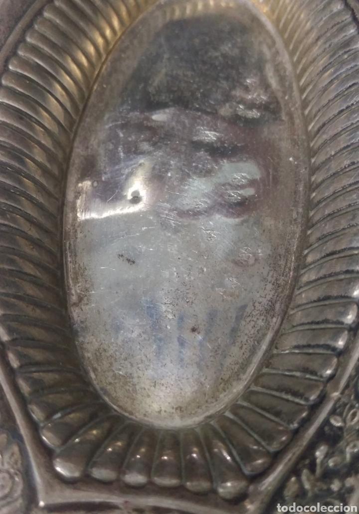 Antigüedades: Antiguo Plato Bandeja plata de ley punzon estrella, jarron y OLMEDO - Foto 5 - 169913369