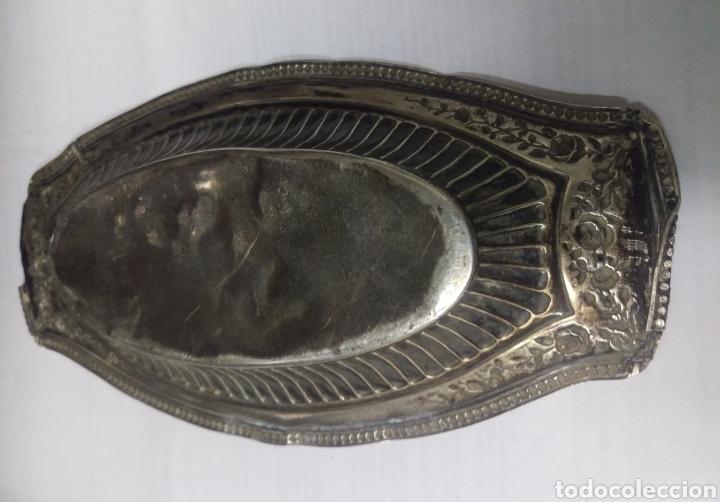 Antigüedades: Antiguo Plato Bandeja plata de ley punzon estrella, jarron y OLMEDO - Foto 8 - 169913369