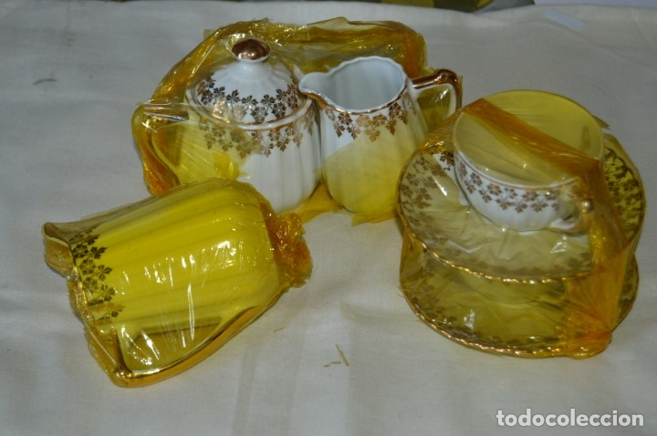 VINTAGE - NOS - NUEVO, PIEZAS JUEGO CAFÉ - PORCELANAS Y CERÁMICA SANTA CLARA - VIGO - AÑOS 60 ¡MIRA! (Antigüedades - Porcelanas y Cerámicas - Santa Clara)