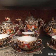 Antigüedades: JUEGO DE CAFÉ EN PORCELANA DE CÁSCARA DE HUEVO. Lote 169929548
