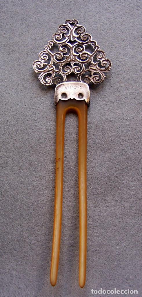 Antigüedades: Peineta plateada antigua de finales del siglo XIX. - Foto 6 - 169936728