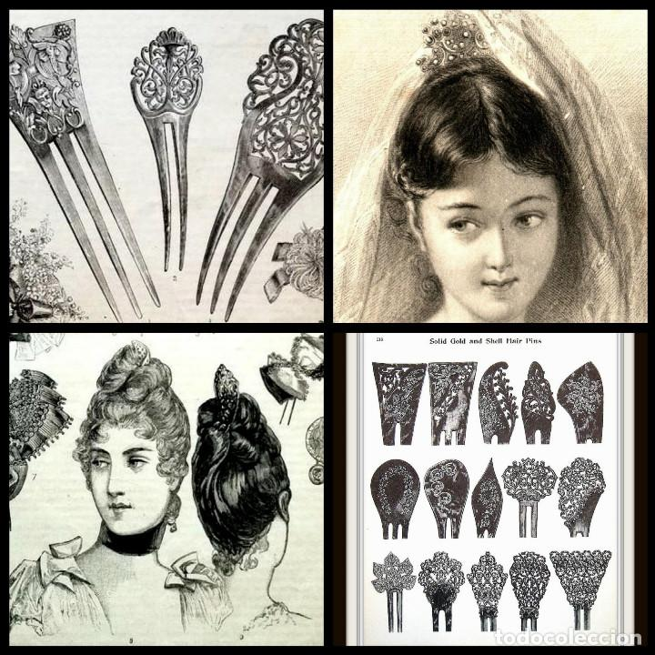 Antigüedades: Peineta plateada antigua de finales del siglo XIX. - Foto 13 - 169936728