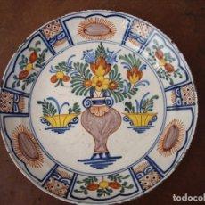Antigüedades: PLATO DELF CERAMICA ,SIGLO XVIII,POLICROMO. Lote 169949072