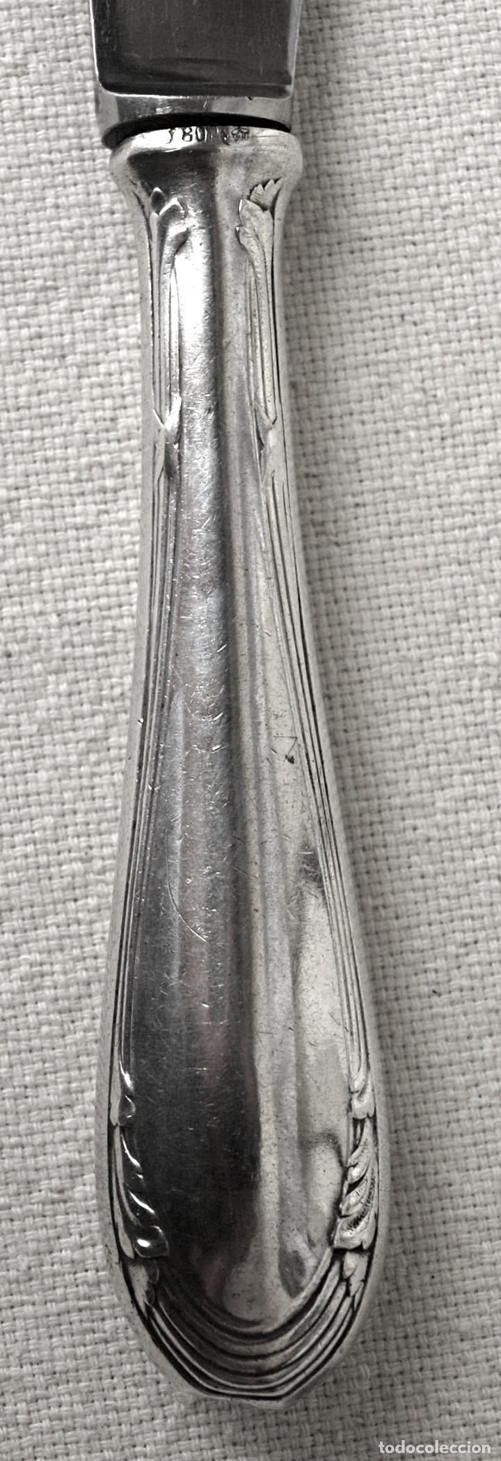 Antigüedades: CUCHILLO CON MANGO DE PLATA DE LEY 800 CONTRASTADA. 25 CM LARGO. VER FOTOS Y DESCRIPCION - Foto 7 - 169970396