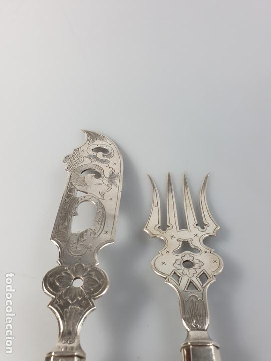 Antigüedades: CUBIERTOS DE SERVIR EN PLATA LEY MARCADO CON CONTRASTE XIX - Foto 5 - 169982016