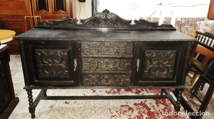 Antigüedades: Aparador bufet antiguo color negro estilo rústico. Mueble auxiliar trinchero antiguo renacimiento. - Foto 2 - 169995848