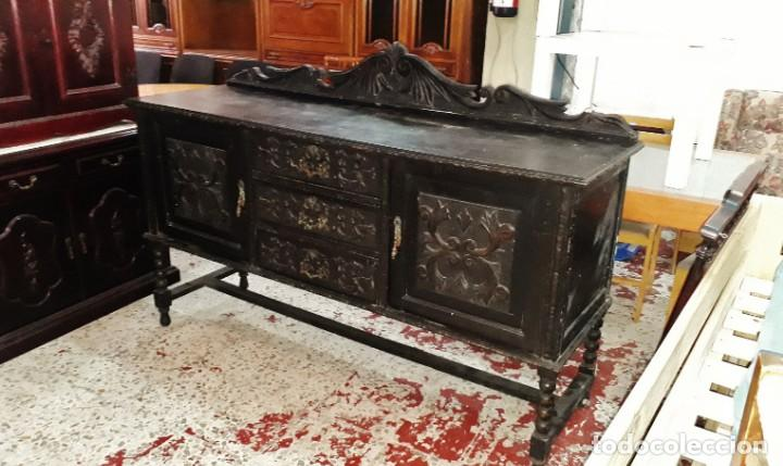 Antigüedades: Aparador bufet antiguo color negro estilo rústico. Mueble auxiliar trinchero antiguo renacimiento. - Foto 3 - 169995848