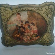 Antigüedades: CAJA DE MADERA DORADA CON RELIEVES. Lote 170009336