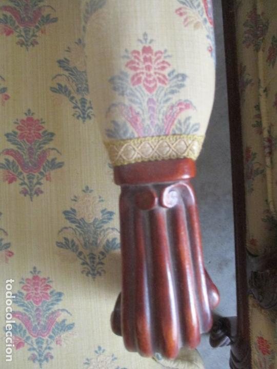 Antigüedades: Pareja de Sillones - Sillón, Madera Color Caoba - Tapicería con Fina Ropa - Muy Cómodos - Foto 9 - 170010192