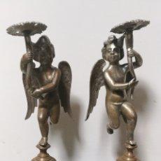 Antigüedades: MAGNIFICAS PIEZAS DE CANDELEROS. ANGELITOS EN BRONCE .. Lote 170016106