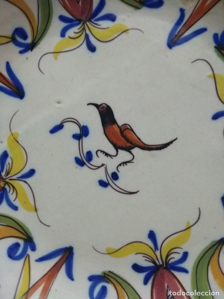 Antigüedades: Precioso plato de Manises, pardalot, siglo XIX. 31 cm. Muy buen estado - Foto 2 - 170032984