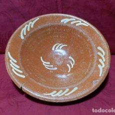 Antigüedades: ANTIGUO PLATO DE BARRO 26'5 CM DIAMETRO. Lote 170061912