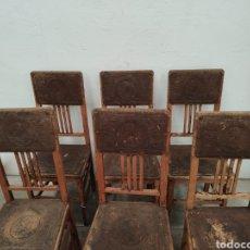 Antigüedades: LOTE 6 SILLAS CASTELLANAS MADERA Y CUERO. Lote 170084761