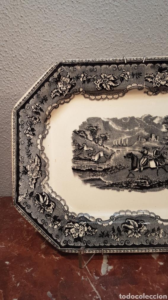 Antigüedades: BANDEJA OCHAVADA LA AMISTAD - CARTAGENA SERIE CINEGETICA SIGLO XIX - Foto 2 - 170123285