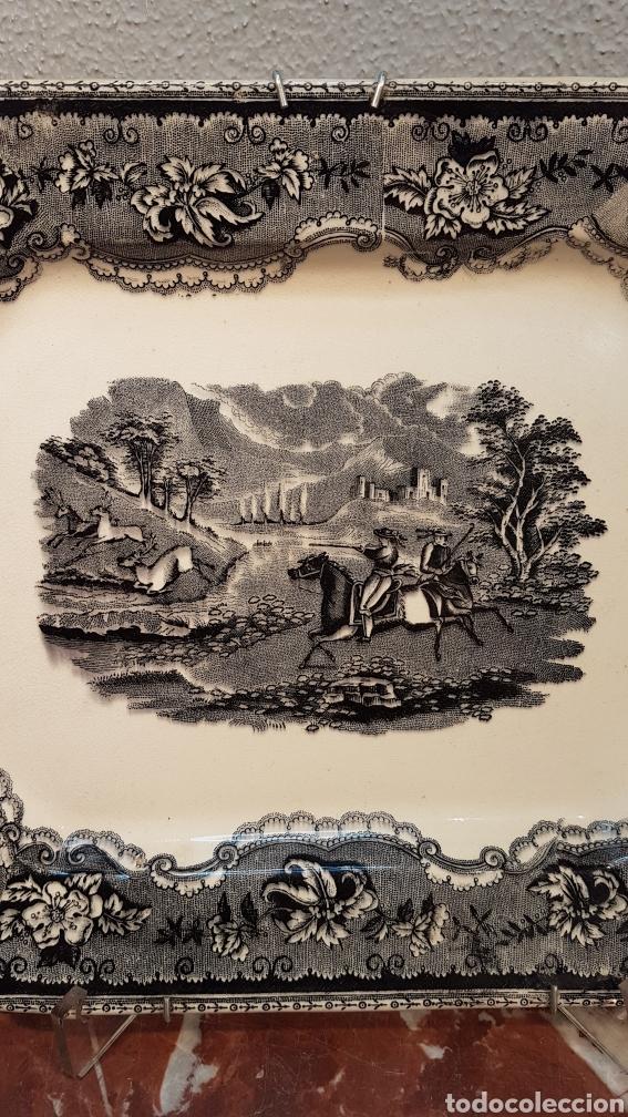 Antigüedades: BANDEJA OCHAVADA LA AMISTAD - CARTAGENA SERIE CINEGETICA SIGLO XIX - Foto 4 - 170123285