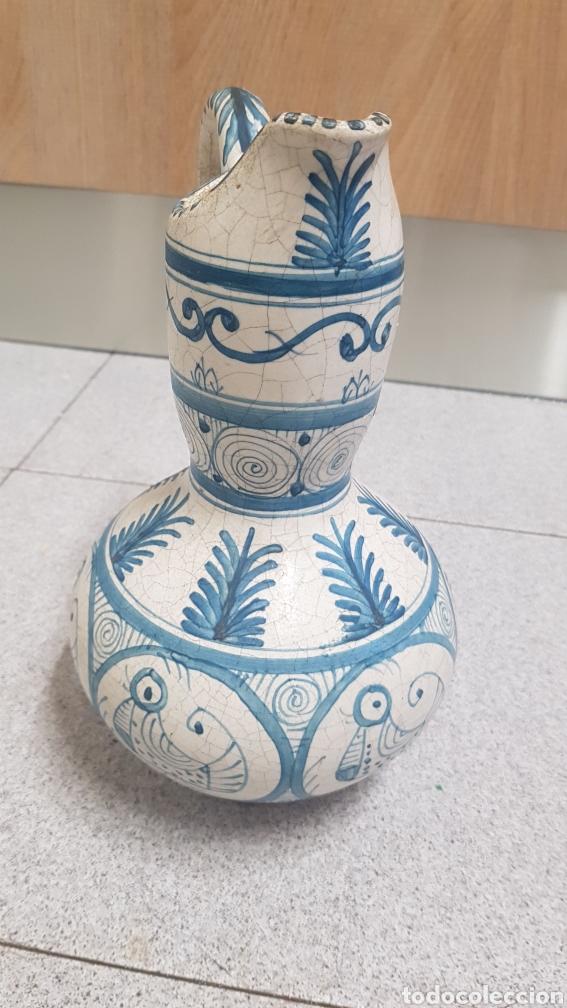Antigüedades: Jarron aguamanil de cerámica de Manises azul. - Foto 2 - 170124338