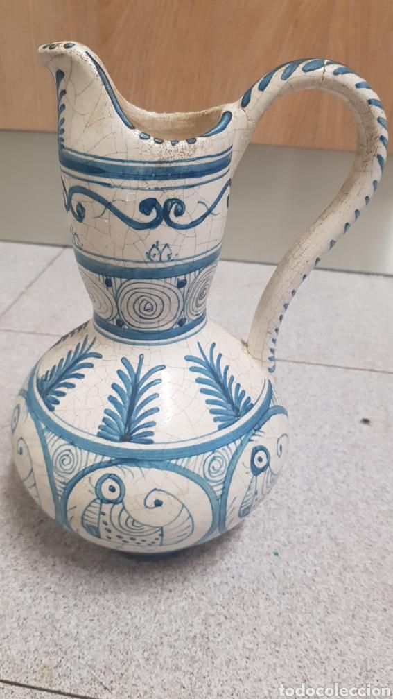 Antigüedades: Jarron aguamanil de cerámica de Manises azul. - Foto 3 - 170124338