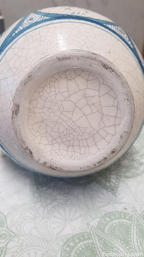 Antigüedades: Jarron aguamanil de cerámica de Manises azul. - Foto 4 - 170124338