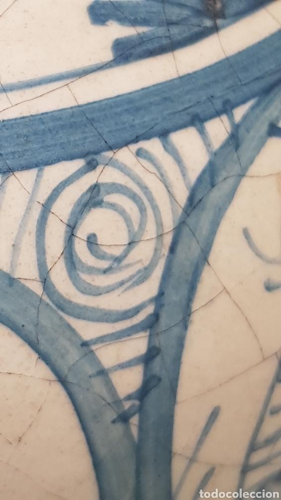 Antigüedades: Jarron aguamanil de cerámica de Manises azul. - Foto 5 - 170124338