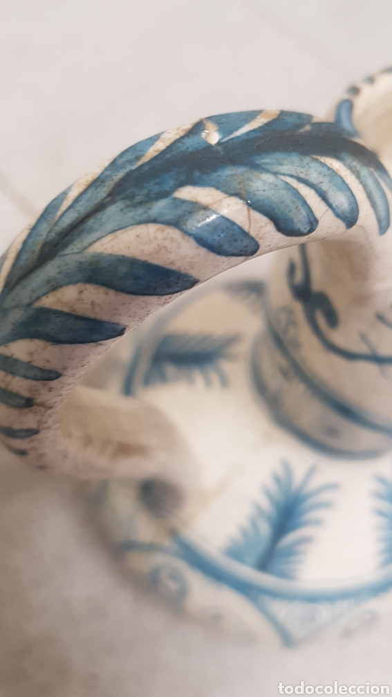Antigüedades: Jarron aguamanil de cerámica de Manises azul. - Foto 9 - 170124338