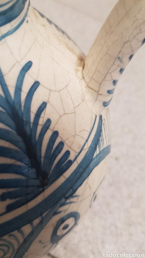 Antigüedades: Jarron aguamanil de cerámica de Manises azul. - Foto 10 - 170124338
