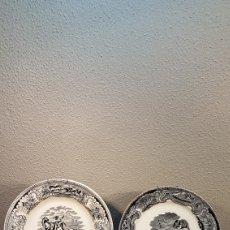 Antigüedades: LOTE DE 2 PLATOS, LA CAZA DEL CIERVO Y LA CAZA DEL LEON CERAMICA DE LA AMISTAD,CARTAGENA. SIGLO XIX. Lote 170124433