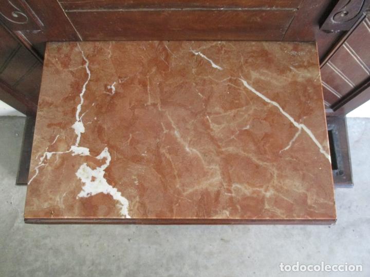 Antigüedades: Antiguo Mueble Recibidor Alfonsino - Paragüero de Nogal - Espejo - Perchas y Decoraciones en Bronce - Foto 6 - 180452223