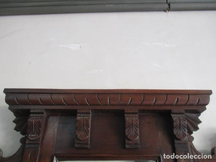 Antigüedades: Antiguo Mueble Recibidor Alfonsino - Paragüero de Nogal - Espejo - Perchas y Decoraciones en Bronce - Foto 21 - 180452223