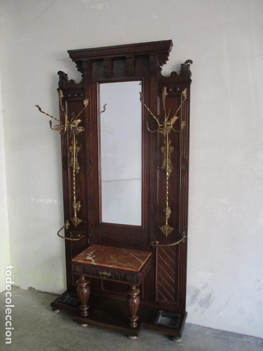 Antigüedades: Antiguo Mueble Recibidor Alfonsino - Paragüero de Nogal - Espejo - Perchas y Decoraciones en Bronce - Foto 22 - 180452223