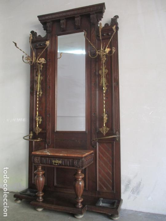 ANTIGUO MUEBLE RECIBIDOR ALFONSINO - PARAGÜERO DE NOGAL - ESPEJO - PERCHAS Y DECORACIONES EN BRONCE (Antigüedades - Muebles Antiguos - Auxiliares Antiguos)