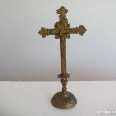 Antigüedades: ANTIGUO CRUCIFIJO DE BRONCE DE SOBREMESA. CRUZ. Lote 170181312