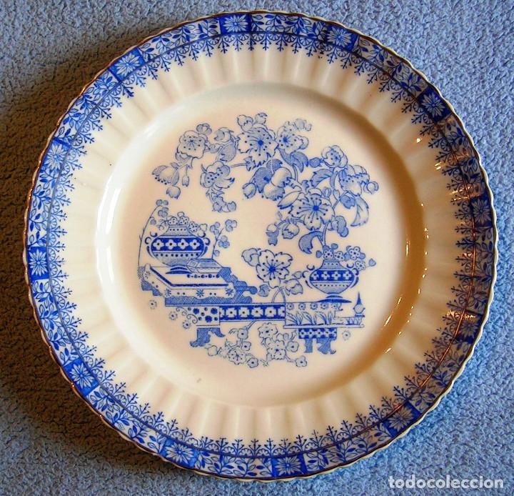 PLATO PORCELANA SANTA CLARA, LLANO Y GRANDE CON 24 CMS. DIAMETRO. (Antigüedades - Porcelanas y Cerámicas - Santa Clara)