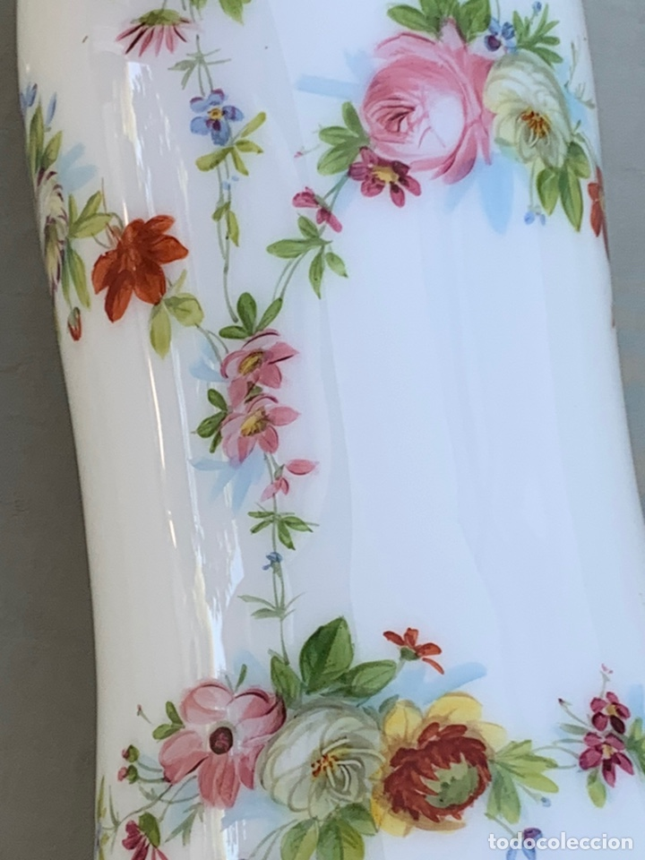 Antigüedades: Tulipa de quinqué Cristal opalina - Foto 6 - 170222684