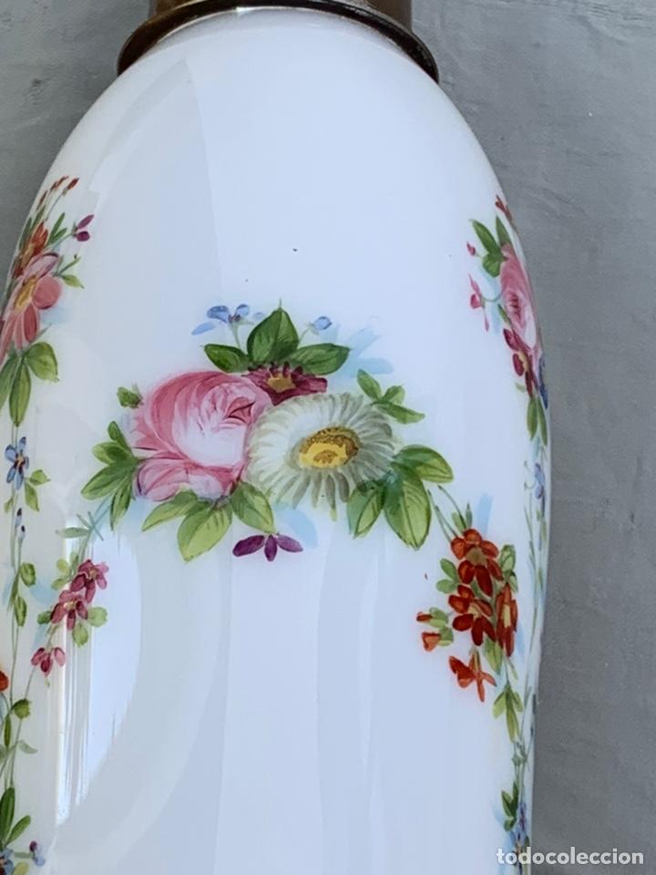 Antigüedades: Tulipa de quinqué Cristal opalina - Foto 8 - 170222684