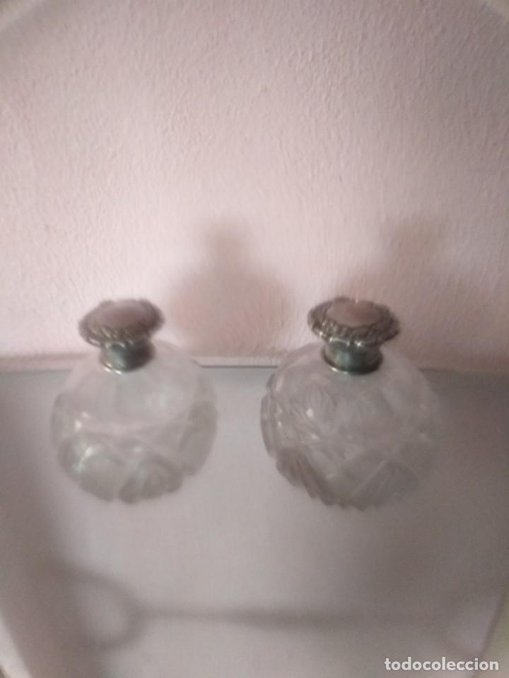 BONITA PAREJA DE CRISTAL CORTADO Y PLATA (Antigüedades - Cristal y Vidrio - Bohemia)