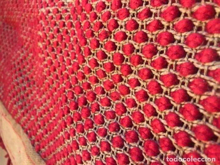 Antigüedades: antigua alfombra anudada a mano con lana larga 130x69 cm pcos s 20 excelente granate - Foto 16 - 170232384