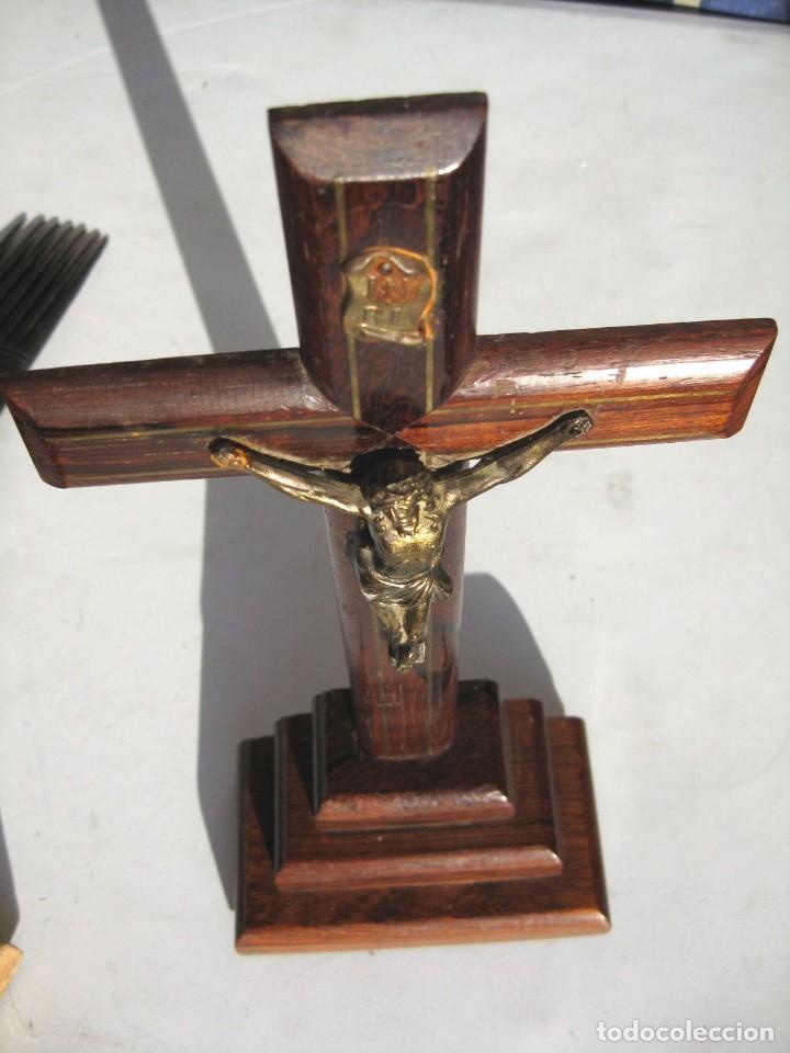 Antigüedades: CALVARIO EN MADERA Y BRONCE , CRISTO DE BRONCE 29 CMS. - Foto 2 - 119595943