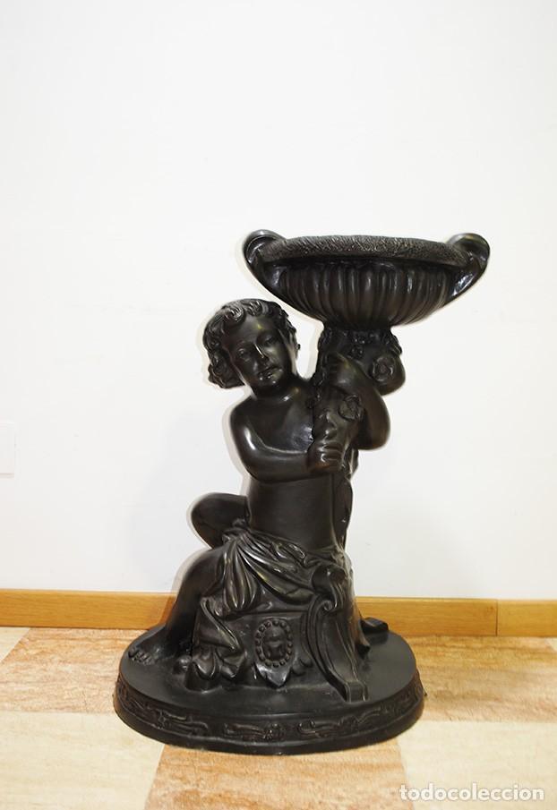 Antigüedades: ANTIGUO MACETERO DE BRONCE PATINADO ANGELITO QUERUBIN - Foto 2 - 170296352