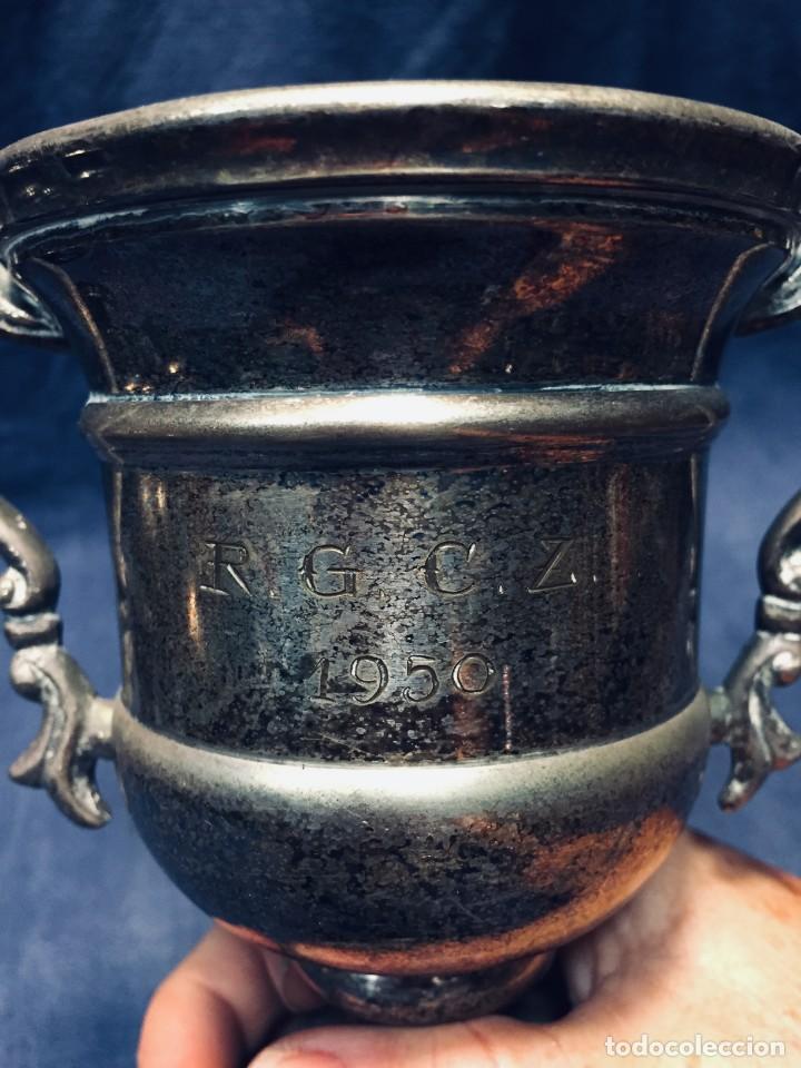 Antigüedades: COPA TROFEO GOLF LIGUES CONTRA BOGEY R.G.C.Z. 1950 METAL PLATEADO BASE MADERA 20X16CMS - Foto 3 - 170303520