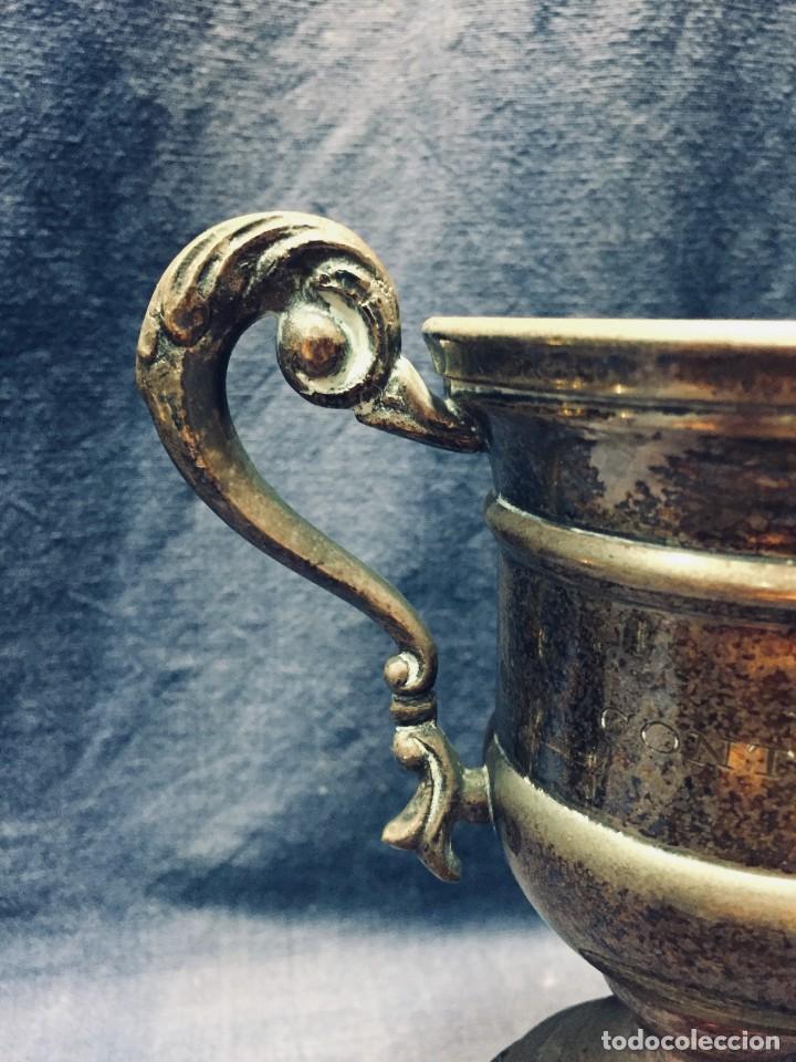 Antigüedades: COPA TROFEO GOLF LIGUES CONTRA BOGEY R.G.C.Z. 1950 METAL PLATEADO BASE MADERA 20X16CMS - Foto 6 - 170303520