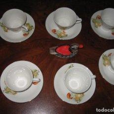 Antigüedades: JUEGO DE SEIS TAZAS Y PLATOS PARA CAFÉ UN UN PATITO. Lote 170313436