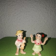 Antigüedades: ORIGINAL PAREJA HAWAIANA PORCELANA BONE MADE IN JAPAN. Lote 170347892