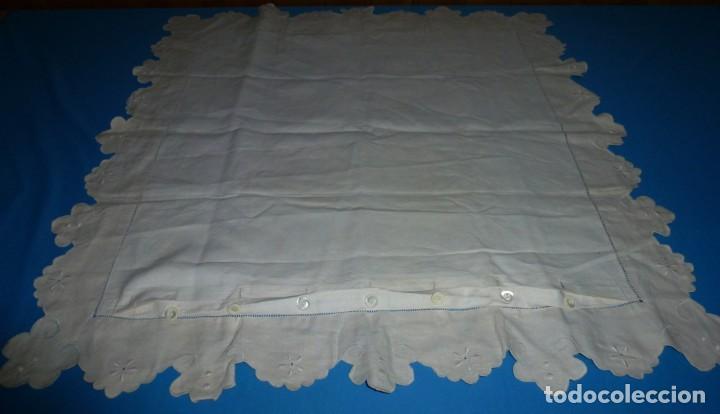 Antigüedades: Antiguo cuadrante de lino funda de almohada con bordados y vainica 70 x 75 - Foto 4 - 170390964